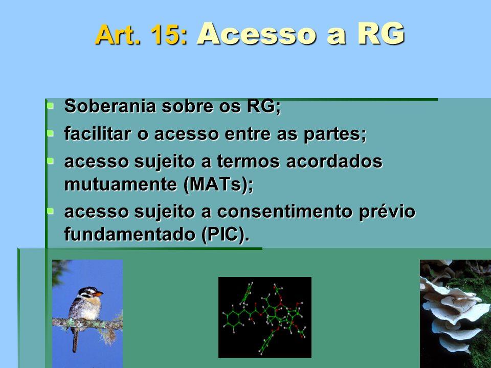 Art. 15: Acesso a RG Soberania sobre os RG; Soberania sobre os RG; facilitar o acesso entre as partes; facilitar o acesso entre as partes; acesso suje