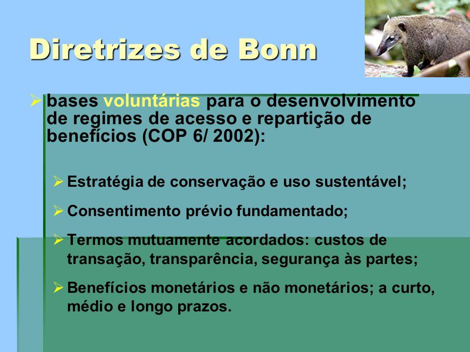 Diretrizes de Bonn bases voluntárias para o desenvolvimento de regimes de acesso e repartição de benefícios (COP 6/ 2002): Estratégia de conservação e