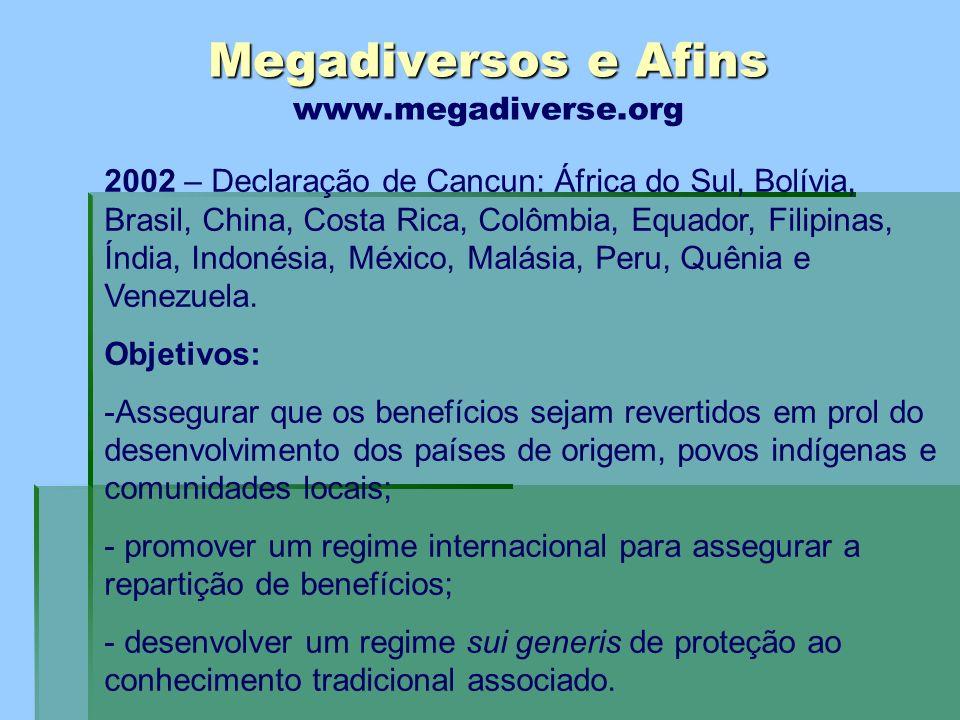 Megadiversos e Afins Megadiversos e Afins www.megadiverse.org 2002 – Declaração de Cancun: África do Sul, Bolívia, Brasil, China, Costa Rica, Colômbia