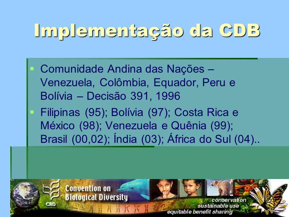 Implementação da CDB Comunidade Andina das Nações – Venezuela, Colômbia, Equador, Peru e Bolívia – Decisão 391, 1996 Filipinas (95); Bolívia (97); Cos