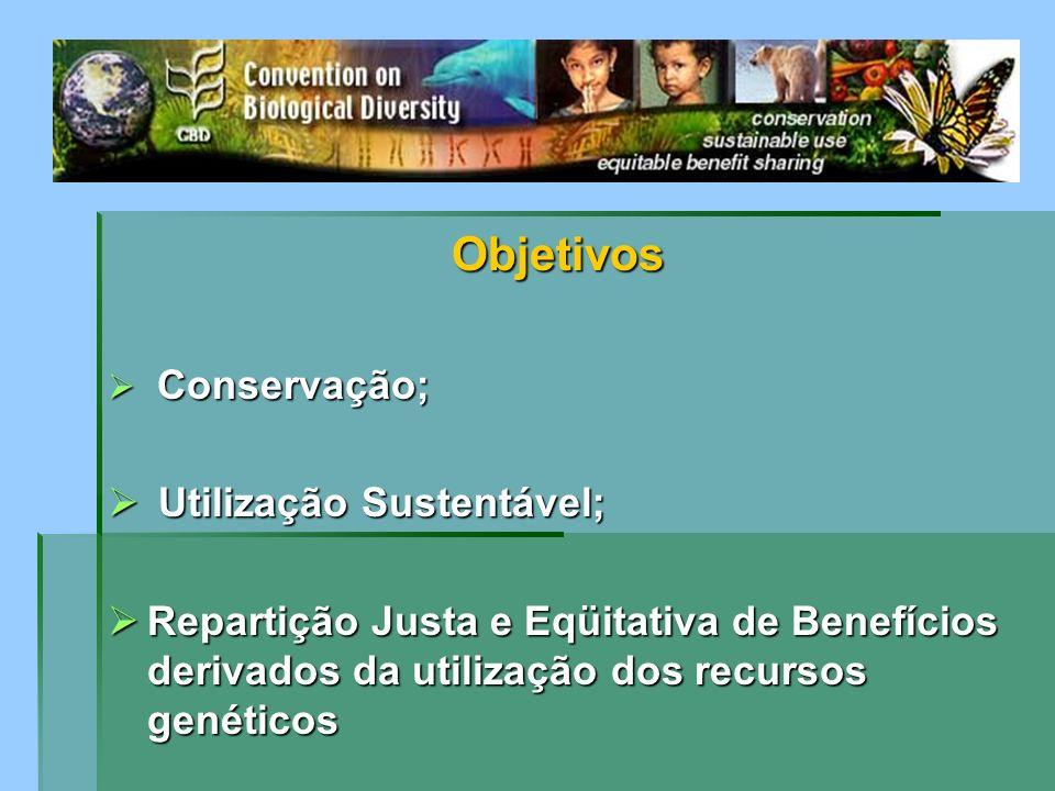 Objetivos Conservação; Conservação; Utilização Sustentável; Utilização Sustentável; Repartição Justa e Eqüitativa de Benefícios derivados da utilizaçã