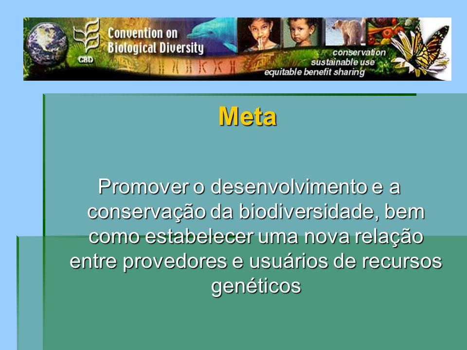 Meta Promover o desenvolvimento e a conservação da biodiversidade, bem como estabelecer uma nova relação entre provedores e usuários de recursos genét