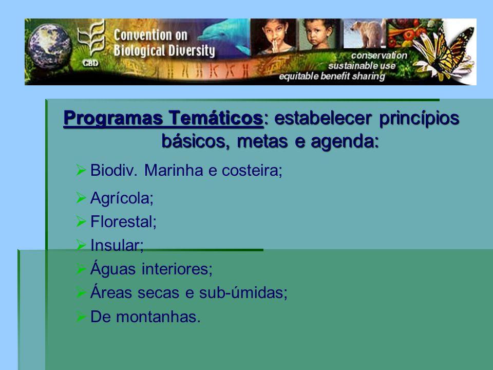 Programas Temáticos: estabelecer princípios básicos, metas e agenda: Biodiv. Marinha e costeira; Agrícola; Florestal; Insular; Águas interiores; Áreas