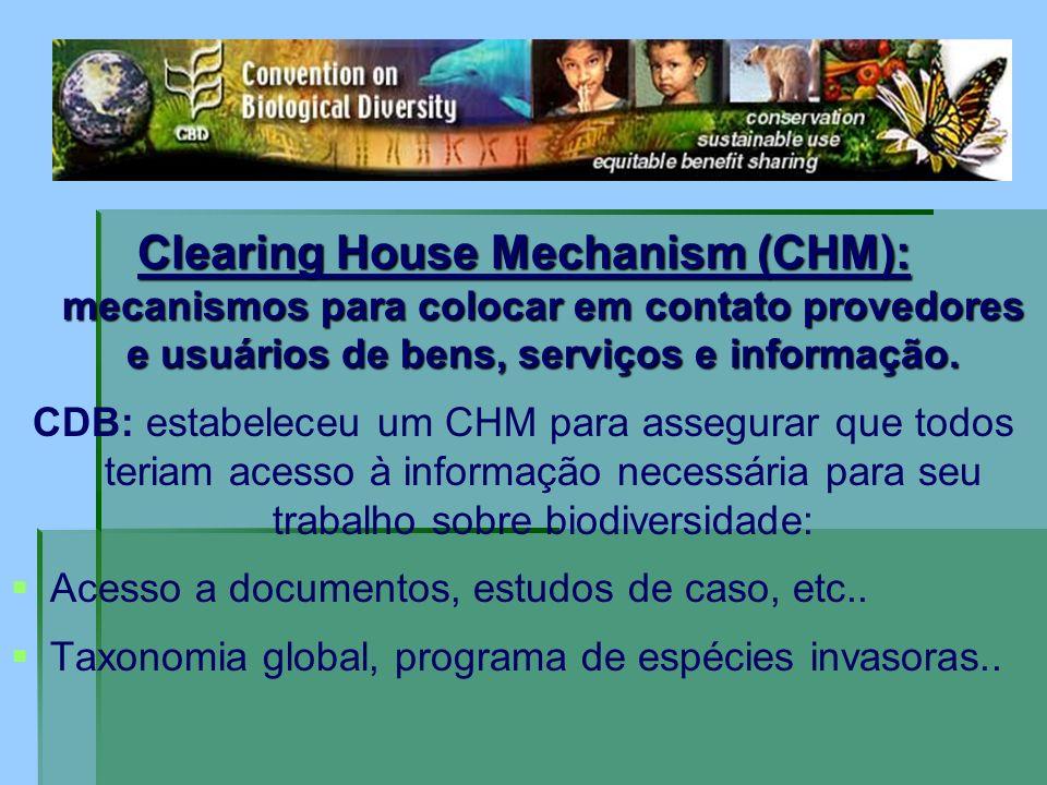 Clearing House Mechanism (CHM): mecanismos para colocar em contato provedores e usuários de bens, serviços e informação. CDB: estabeleceu um CHM para