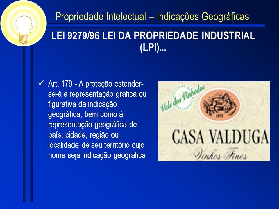 LEI 9279/96 LEI DA PROPRIEDADE INDUSTRIAL (LPI)... Art. 179 - A proteção estender- se-á à representação gráfica ou figurativa da indicação geográfica,