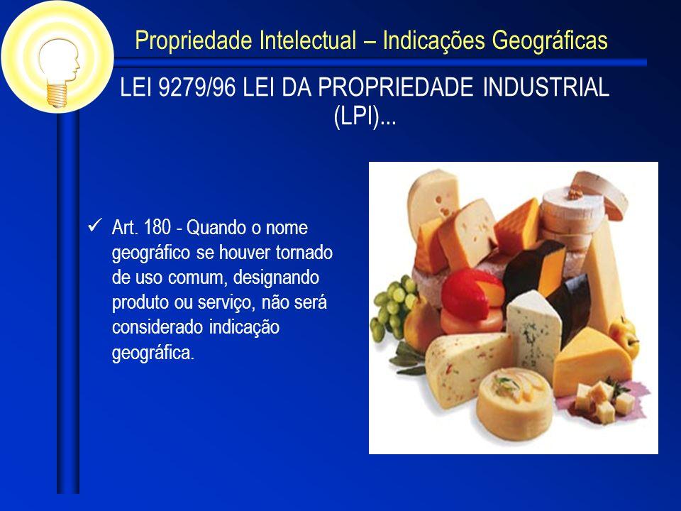 LEI 9279/96 LEI DA PROPRIEDADE INDUSTRIAL (LPI)... Art. 180 - Quando o nome geográfico se houver tornado de uso comum, designando produto ou serviço,