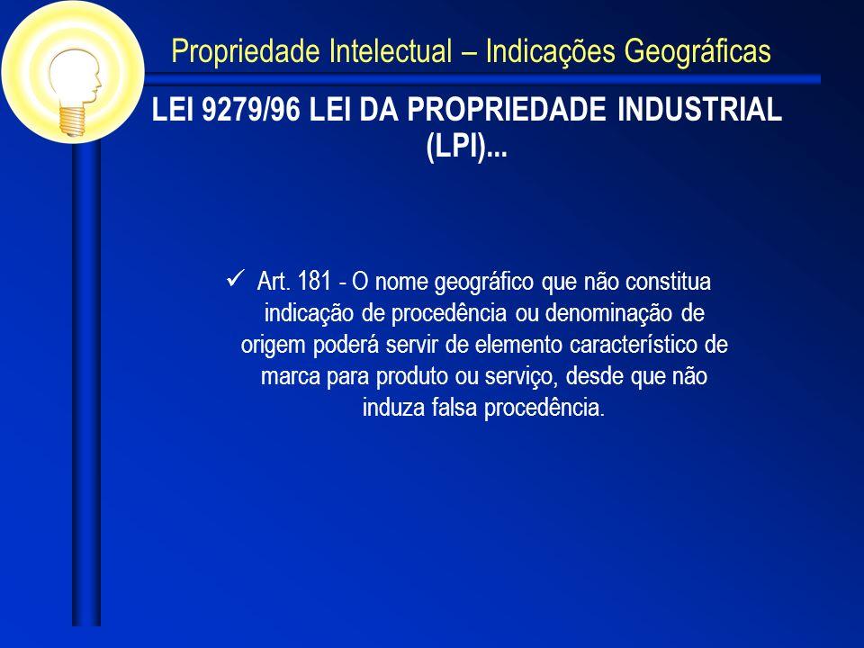 LEI 9279/96 LEI DA PROPRIEDADE INDUSTRIAL (LPI)... Art. 181 - O nome geográfico que não constitua indicação de procedência ou denominação de origem po
