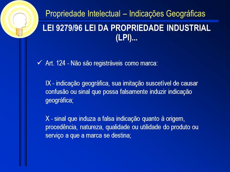 LEI 9279/96 LEI DA PROPRIEDADE INDUSTRIAL (LPI)... Art. 124 - Não são registráveis como marca: IX - indicação geográfica, sua imitação suscetível de c