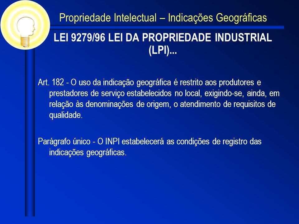 LEI 9279/96 LEI DA PROPRIEDADE INDUSTRIAL (LPI)... Art. 182 - O uso da indicação geográfica é restrito aos produtores e prestadores de serviço estabel