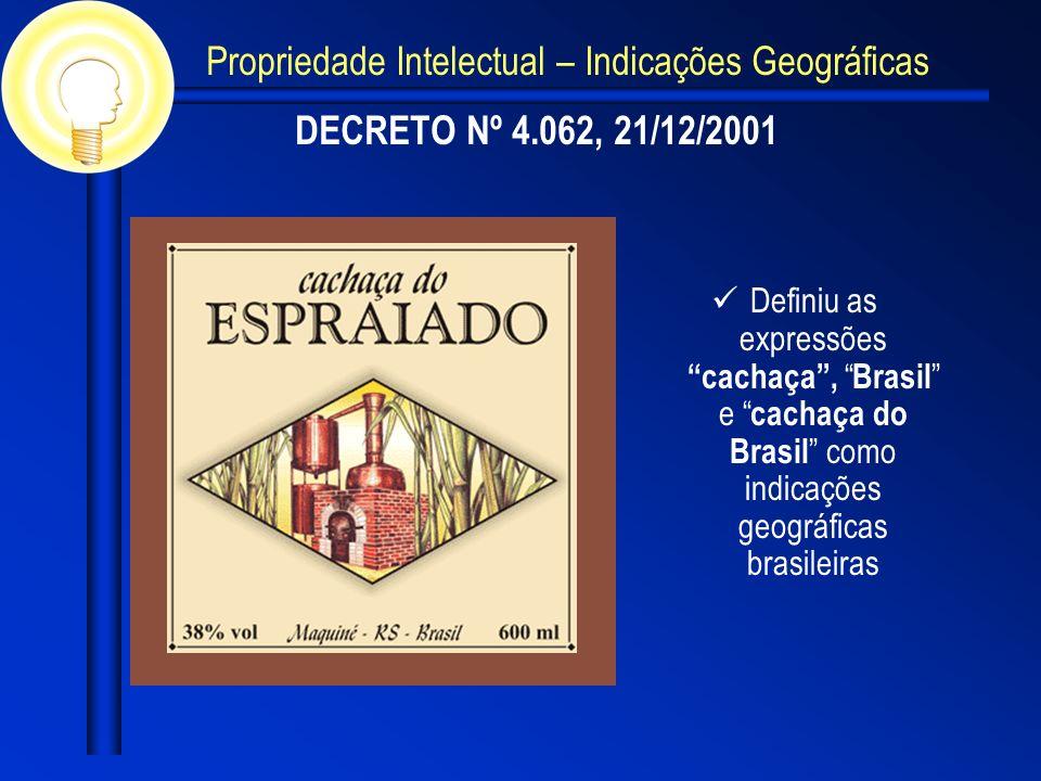 DECRETO Nº 4.062, 21/12/2001 Definiu as expressões cachaça, Brasil e cachaça do Brasil como indicações geográficas brasileiras Propriedade Intelectual – Indicações Geográficas