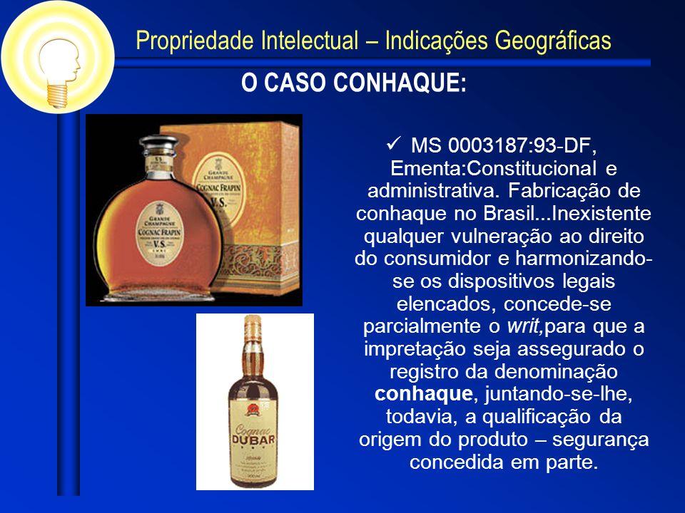 O CASO CONHAQUE: MS 0003187:93-DF, Ementa:Constitucional e administrativa. Fabricação de conhaque no Brasil...Inexistente qualquer vulneração ao direi