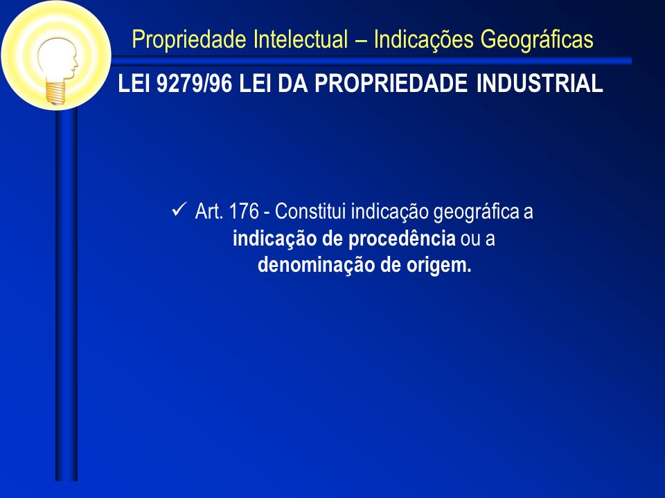 LEI 9279/96 LEI DA PROPRIEDADE INDUSTRIAL Art. 176 - Constitui indicação geográfica a indicação de procedência ou a denominação de origem. Propriedade