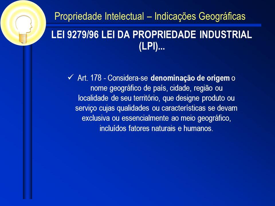 LEI 9279/96 LEI DA PROPRIEDADE INDUSTRIAL (LPI)... Art. 178 - Considera-se denominação de origem o nome geográfico de país, cidade, região ou localida
