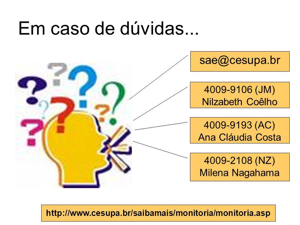 Em caso de dúvidas... sae@cesupa.br 4009-9193 (AC) Ana Cláudia Costa 4009-2108 (NZ) Milena Nagahama http://www.cesupa.br/saibamais/monitoria/monitoria