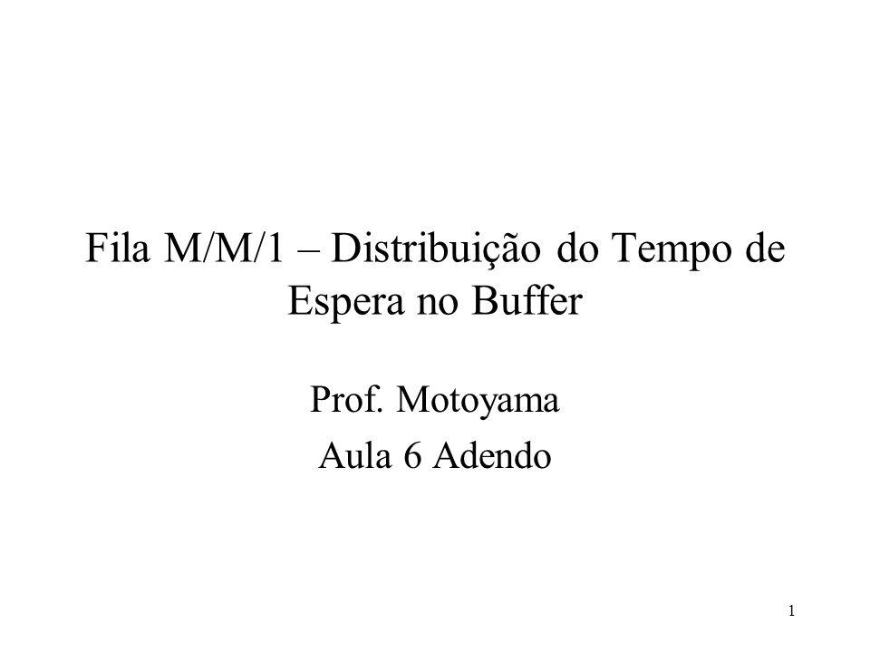 1 Fila M/M/1 – Distribuição do Tempo de Espera no Buffer Prof. Motoyama Aula 6 Adendo