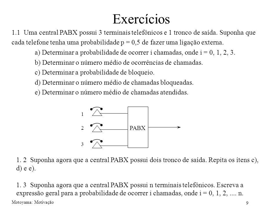 9 Motoyama: Motivação Exercícios 1.1 Uma central PABX possui 3 terminais telefônicos e 1 tronco de saída. Suponha que cada telefone tenha uma probabil