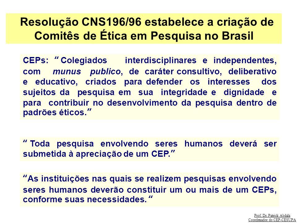 Prof. Dr. Patrick Abdala Coordenador do CEP-CESUPA Resolução CNS196/96 estabelece a criação de Comitês de Ética em Pesquisa no Brasil CEPs: Colegiados