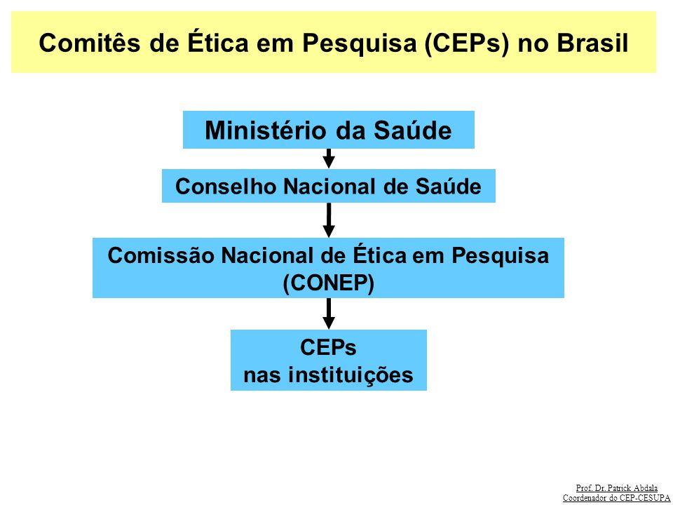 Prof. Dr. Patrick Abdala Coordenador do CEP-CESUPA Comitês de Ética em Pesquisa (CEPs) no Brasil Conselho Nacional de Saúde Ministério da Saúde Comiss