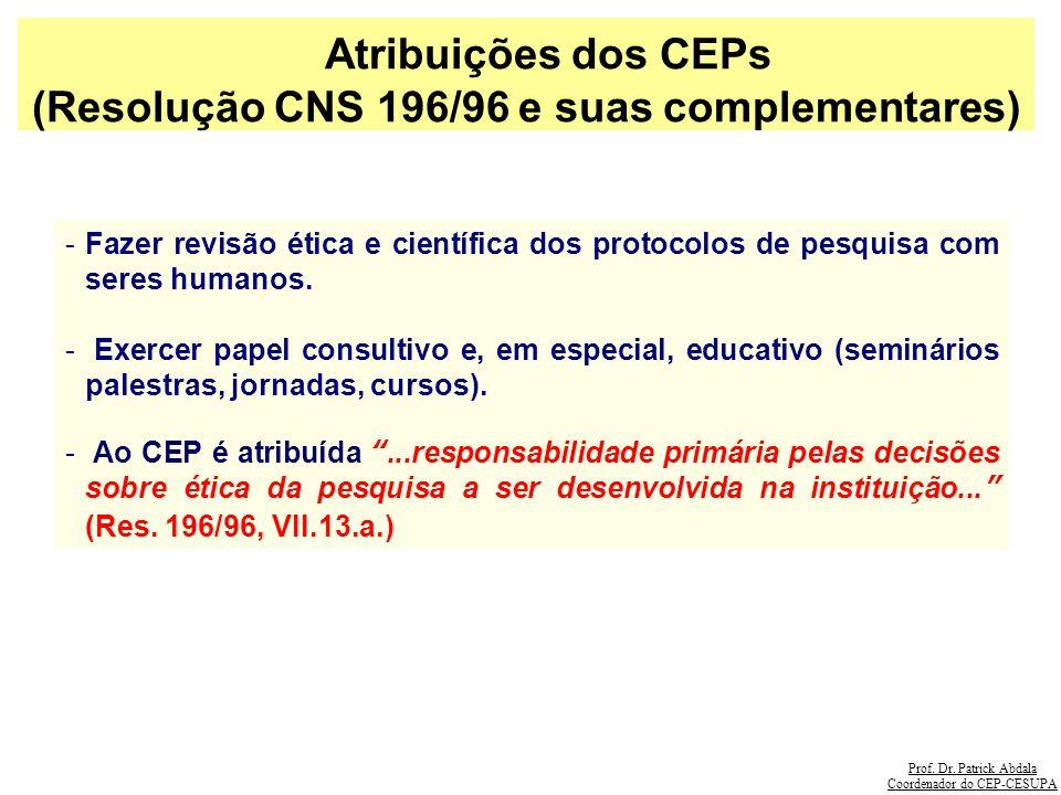Prof. Dr. Patrick Abdala Coordenador do CEP-CESUPA Atribuições dos CEPs (Resolução CNS 196/96 e suas complementares) -Fazer revisão ética e científica