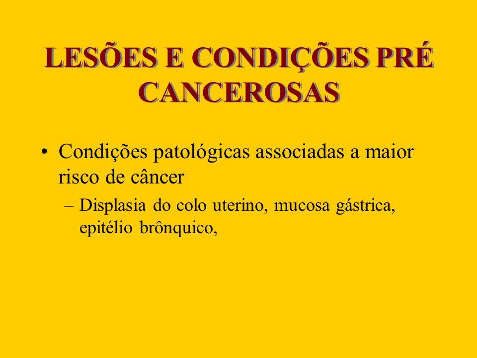 LESÕES E CONDIÇÕES PRÉ CANCEROSAS Condições patológicas associadas a maior risco de câncer –Displasia do colo uterino, mucosa gástrica, epitélio brônq