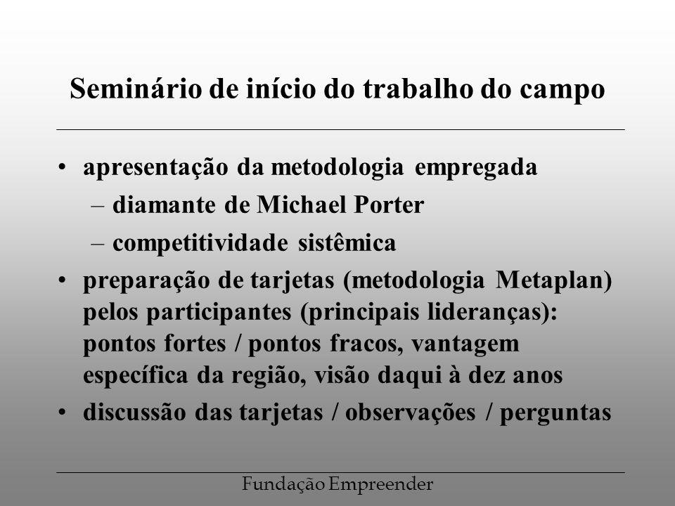 Fundação Empreender Seminário de início do trabalho do campo apresentação da metodologia empregada –diamante de Michael Porter –competitividade sistêm