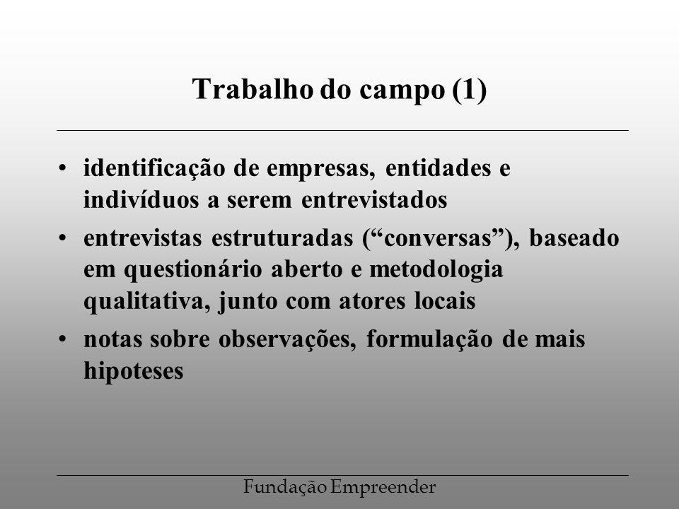 Fundação Empreender Trabalho do campo (1) identificação de empresas, entidades e indivíduos a serem entrevistados entrevistas estruturadas (conversas)