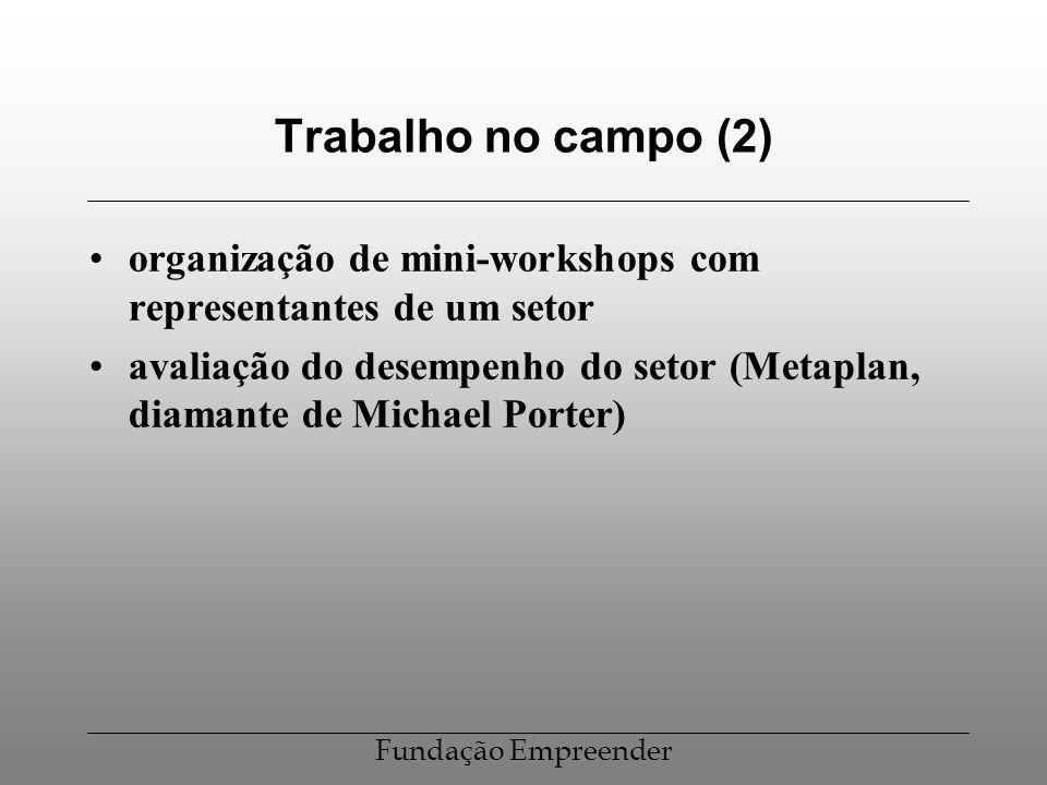 Fundação Empreender Trabalho no campo (2) organização de mini-workshops com representantes de um setor avaliação do desempenho do setor (Metaplan, dia