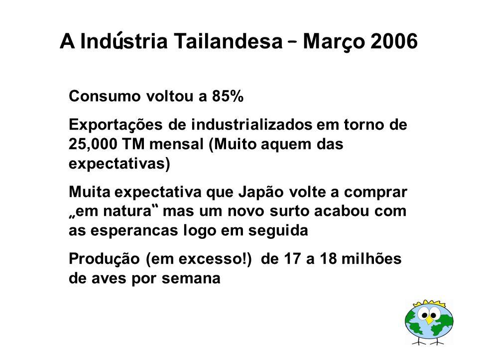 A Ind ú stria Tailandesa – Mar ç o 2006 Consumo voltou a 85% Exporta ç ões de industrializados em torno de 25,000 TM mensal (Muito aquem das expectati