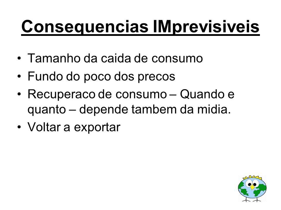 Consequencias IMprevisiveis Tamanho da caida de consumo Fundo do poco dos precos Recuperaco de consumo – Quando e quanto – depende tambem da midia. Vo