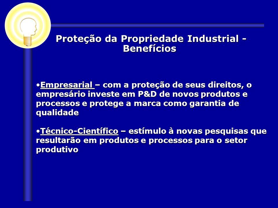 Proteção da Propriedade Industrial - Benefícios Proteção da Propriedade Industrial - Benefícios Empresarial – com a proteção de seus direitos, o empre