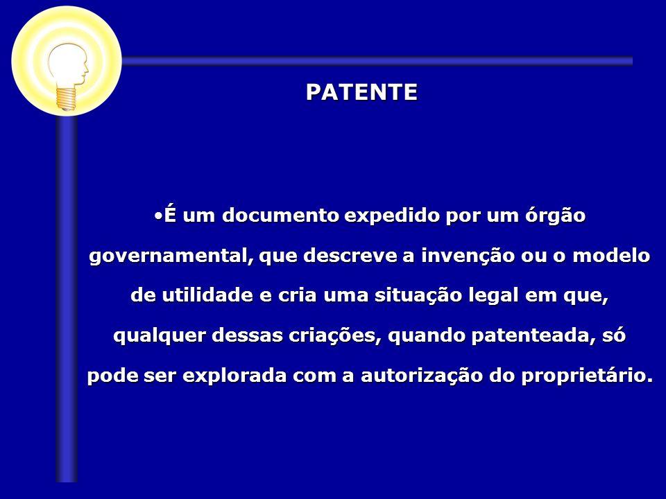 PATENTE PATENTE É um documento expedido por um órgão governamental, que descreve a invenção ou o modelo de utilidade e cria uma situação legal em que,