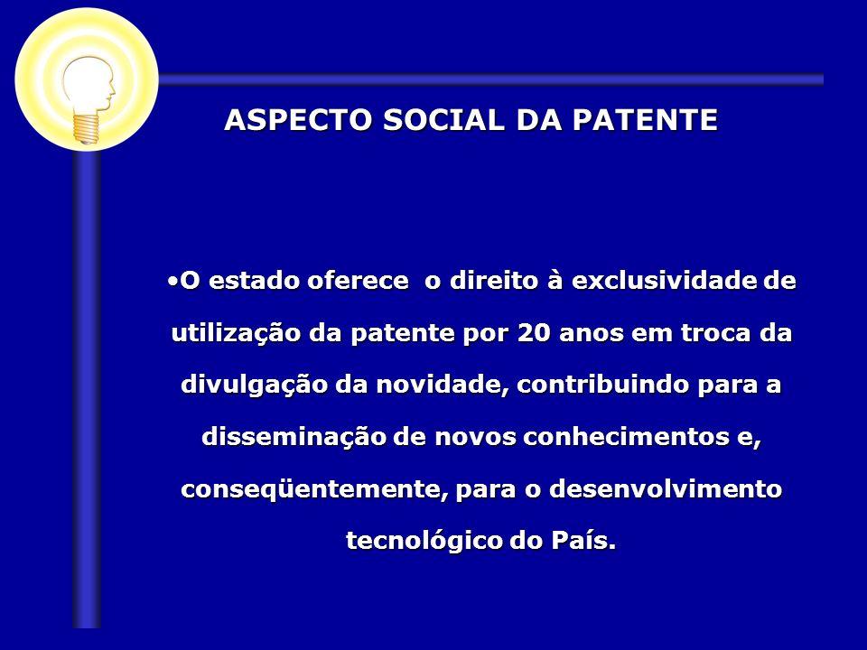 ASPECTO SOCIAL DA PATENTE ASPECTO SOCIAL DA PATENTE O estado oferece o direito à exclusividade de utilização da patente por 20 anos em troca da divulg