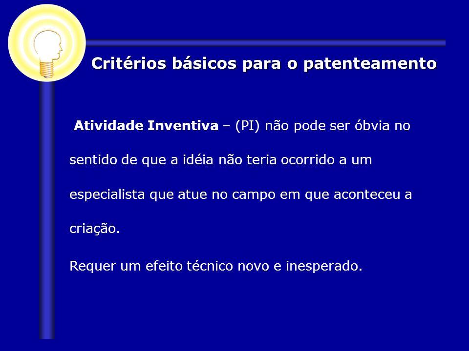 Critérios básicos para o patenteamento Atividade Inventiva – (PI) não pode ser óbvia no sentido de que a idéia não teria ocorrido a um especialista qu