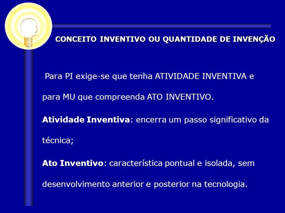 CONCEITO INVENTIVO OU QUANTIDADE DE INVENÇÃO Para PI exige-se que tenha ATIVIDADE INVENTIVA e para MU que compreenda ATO INVENTIVO. Atividade Inventiv