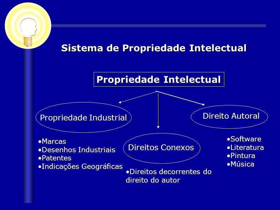 Sistema de Propriedade Intelectual Propriedade Intelectual Propriedade Industrial Direito Autoral Marcas Desenhos Industriais Patentes Indicações Geog