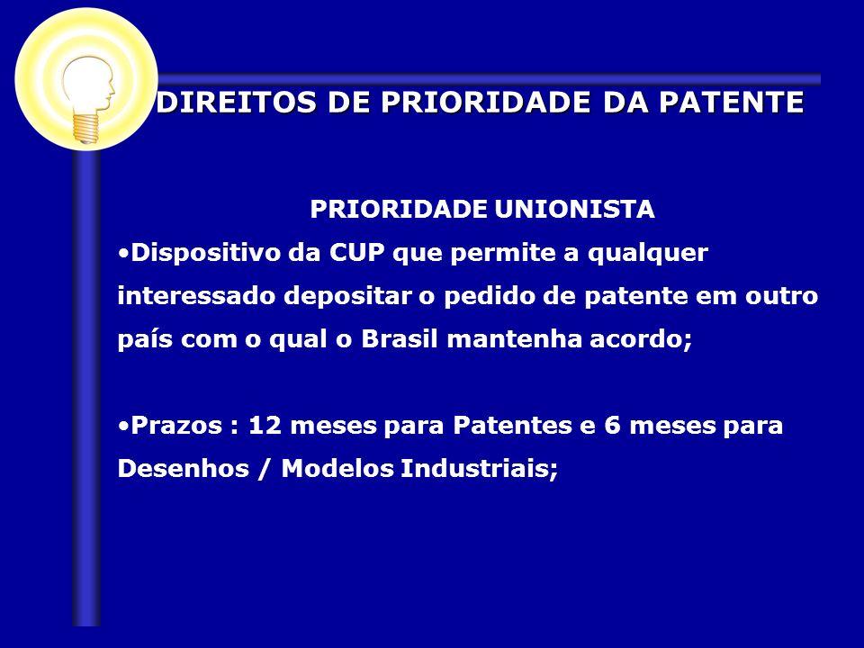 PRIORIDADE UNIONISTA Dispositivo da CUP que permite a qualquer interessado depositar o pedido de patente em outro país com o qual o Brasil mantenha ac