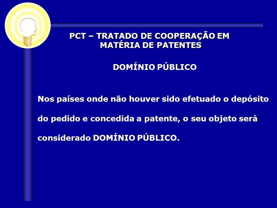DOMÍNIO PÚBLICO Nos países onde não houver sido efetuado o depósito do pedido e concedida a patente, o seu objeto será considerado DOMÍNIO PÚBLICO. PC