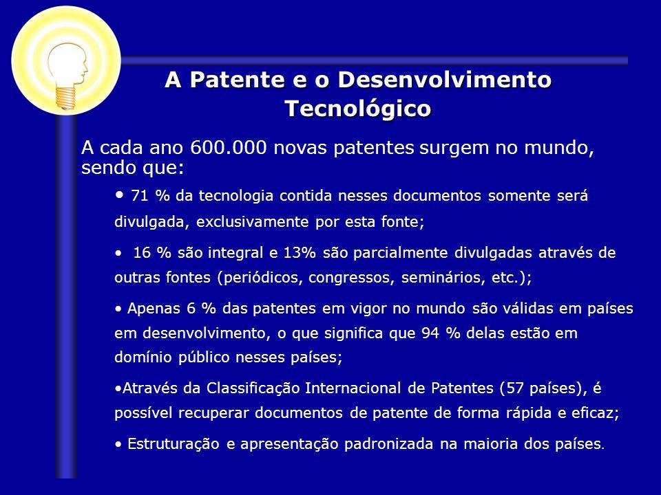 A cada ano 600.000 novas patentes surgem no mundo, sendo que: 71 % da tecnologia contida nesses documentos somente será divulgada, exclusivamente por