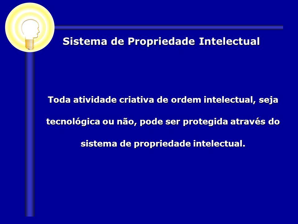 Sistema de Propriedade Intelectual Toda atividade criativa de ordem intelectual, seja tecnológica ou não, pode ser protegida através do sistema de pro