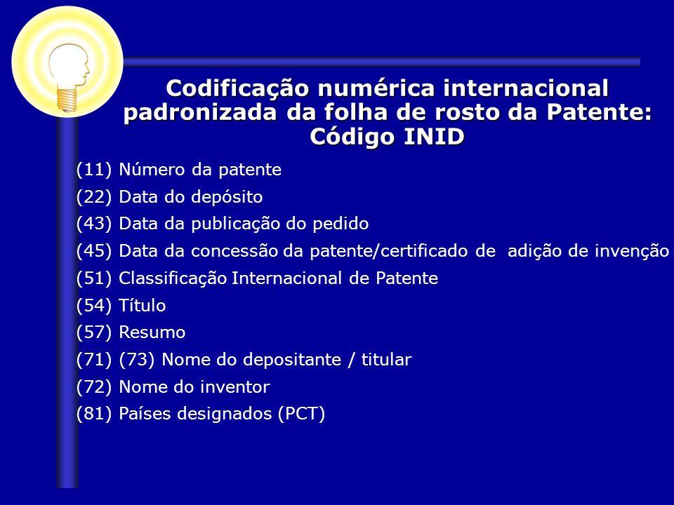 (11) Número da patente (22) Data do depósito (43) Data da publicação do pedido (45) Data da concessão da patente/certificado de adição de invenção (51