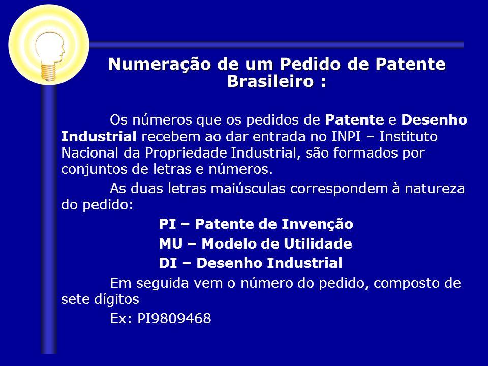 Os números que os pedidos de Patente e Desenho Industrial recebem ao dar entrada no INPI – Instituto Nacional da Propriedade Industrial, são formados