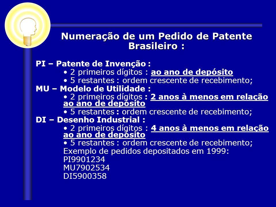 PI – Patente de Invenção : 2 primeiros dígitos : ao ano de depósito 5 restantes : ordem crescente de recebimento; MU – Modelo de Utilidade : 2 primeir