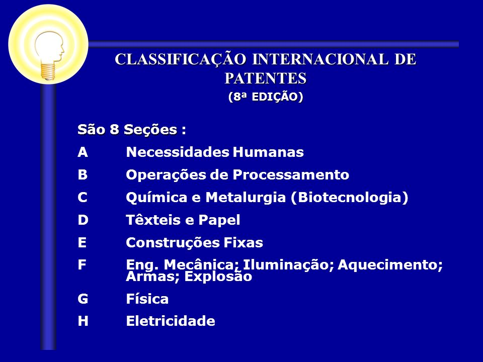São 8 Seções São 8 Seções : ANecessidades Humanas BOperações de Processamento CQuímica e Metalurgia (Biotecnologia) DTêxteis e Papel EConstruções Fixa