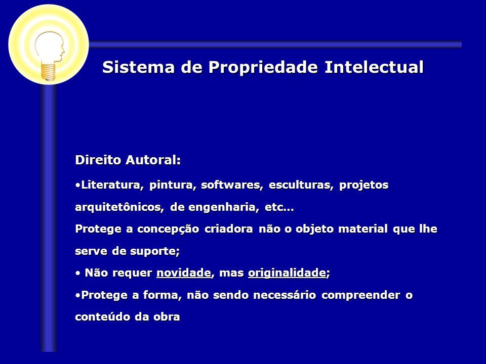 Sistema de Propriedade Intelectual Direito Autoral: Literatura, pintura, softwares, esculturas, projetos arquitetônicos, de engenharia, etc…Literatura