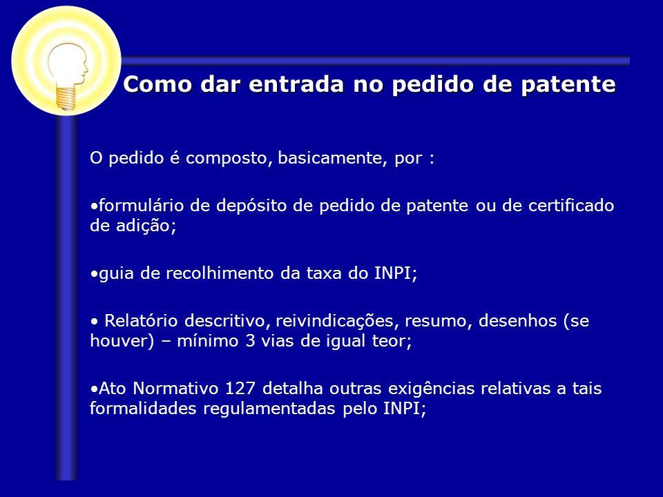 O pedido é composto, basicamente, por : formulário de depósito de pedido de patente ou de certificado de adição; guia de recolhimento da taxa do INPI;