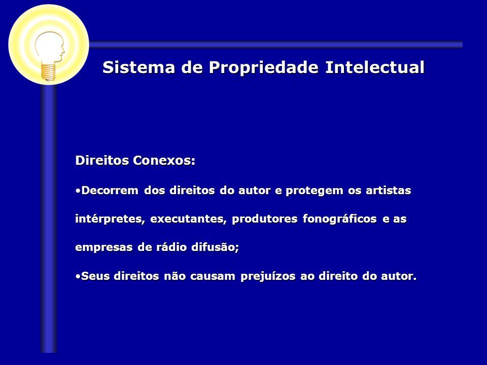 Sistema de Propriedade Intelectual Direitos Conexos: Decorrem dos direitos do autor e protegem os artistas intérpretes, executantes, produtores fonogr
