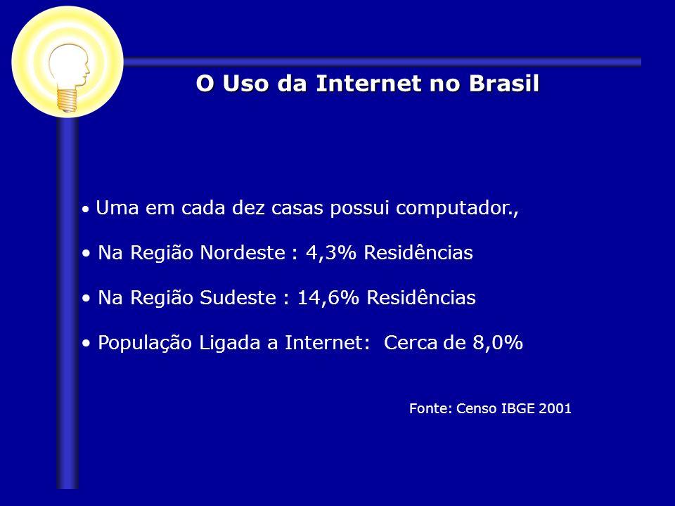 O Uso da Internet no Brasil Uma em cada dez casas possui computador., Na Região Nordeste : 4,3% Residências Na Região Sudeste : 14,6% Residências Popu