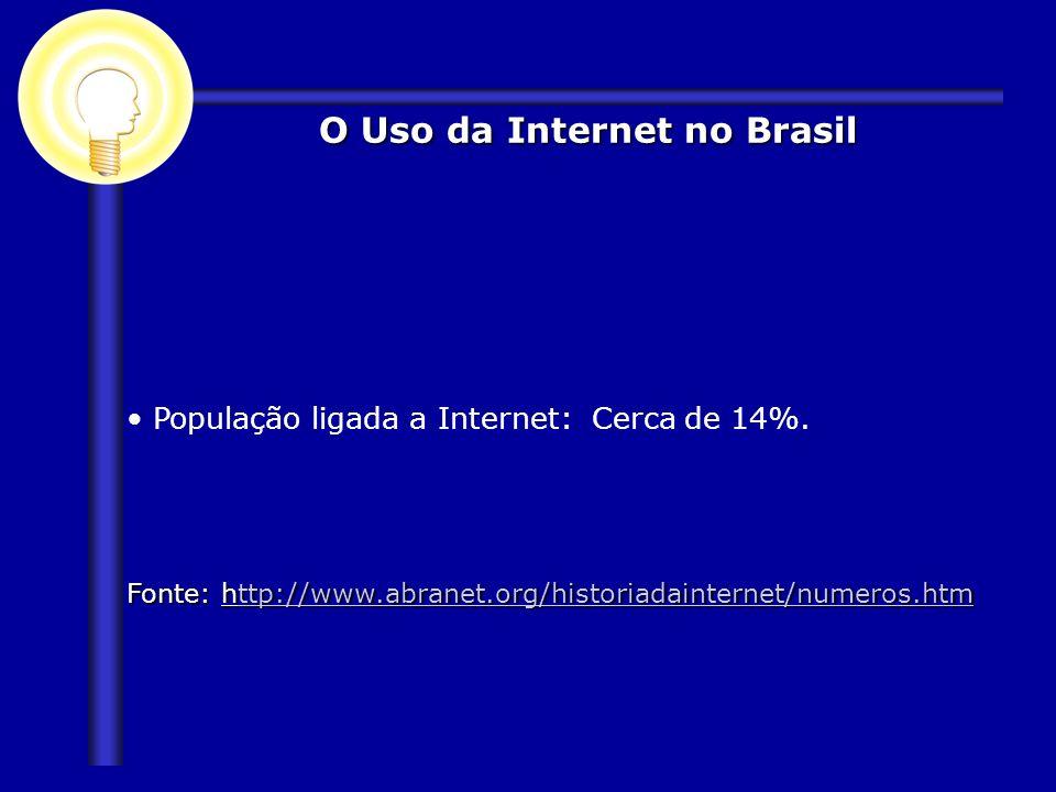 O Uso da Internet no Brasil População ligada a Internet: Cerca de 14%. Fonte: http://www.abranet.org/historiadainternet/numeros.htm ttp://www.abranet.