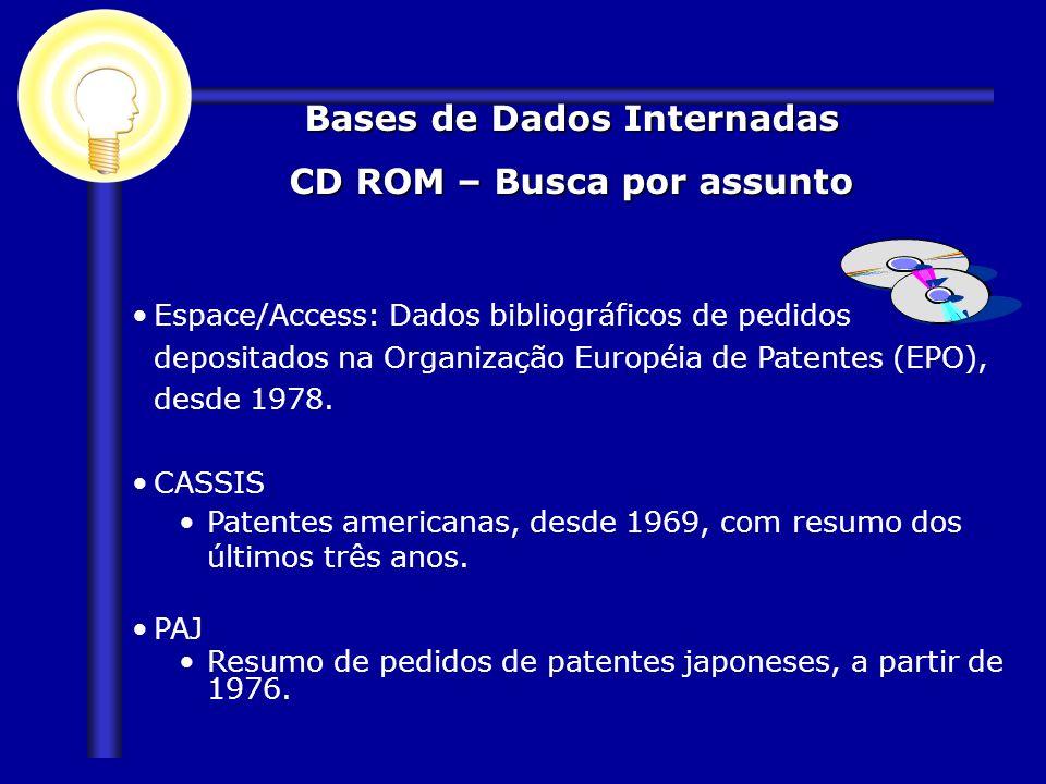 Espace/Access: Dados bibliográficos de pedidos depositados na Organização Européia de Patentes (EPO), desde 1978. CASSIS Patentes americanas, desde 19