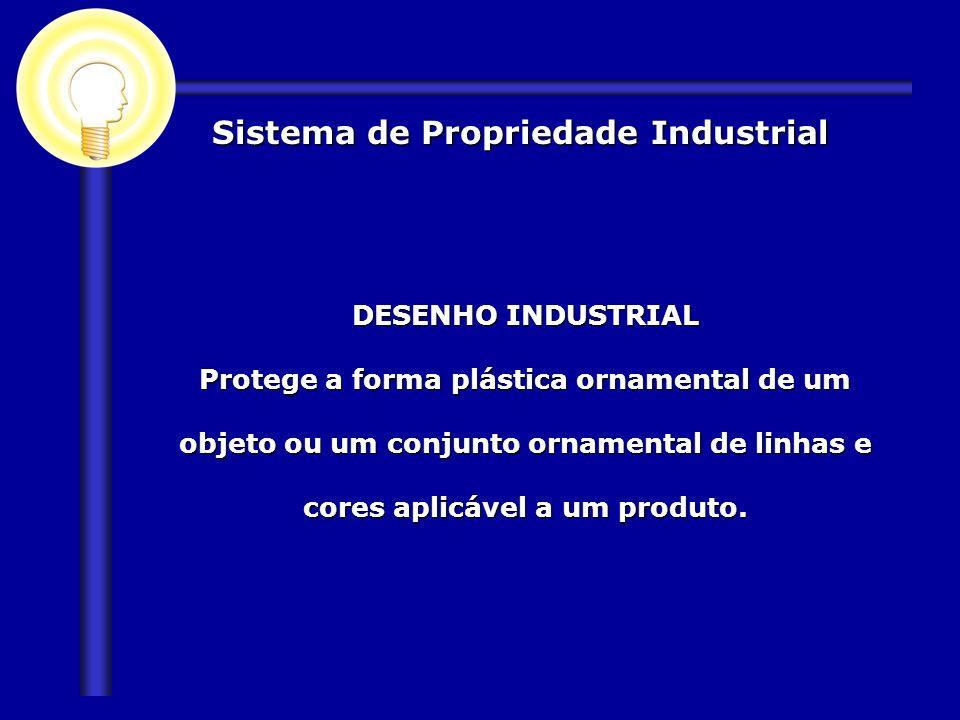 Sistema de Propriedade Industrial DESENHO INDUSTRIAL Protege a forma plástica ornamental de um objeto ou um conjunto ornamental de linhas e cores apli
